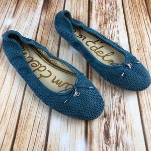 NWOT SAM EDELMAN Blue Suede Ballet Flats Size 12